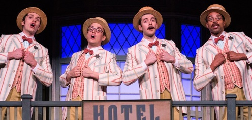 From left: George Krissa as Ewart Dunlop, Robert Markus as Jacey Squires, Sayer Roberts as Oliver Hix and Marcus Nance as Olin Britt in The Music Man. Photography by Cylla von Tiedemann.